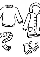 Раскраска Свитер, пальто, шарф и перчатки