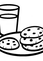 Раскраска Молоко с печеньем