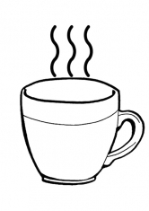 Раскраска Чашка с горячим чаем