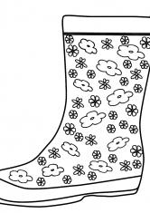 Раскраска Резиновые сапоги с рисунком