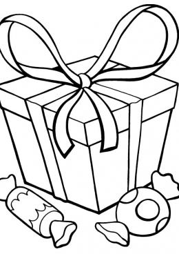 раскраска подарок и две конфеты скачать и распечатать