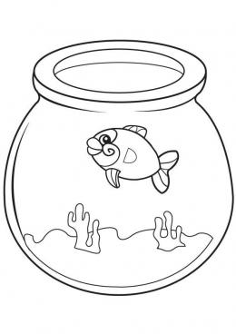 раскраска рыба в аквариуме скачать и распечатать раскраску