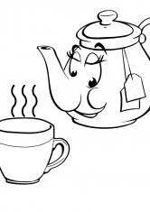 Раскраска Чайник и чашка