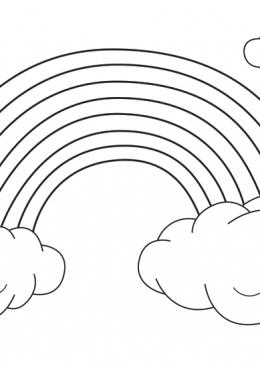 Раскраска Радуга в облаках, скачать и распечатать ...