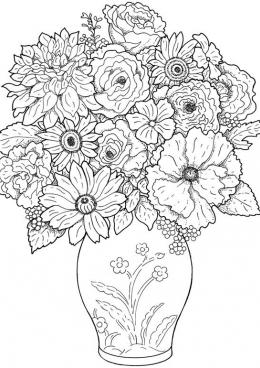 Раскраска Цветы в вазе с узором, скачать и распечатать ...
