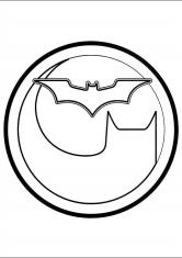 Раскраска Круглый логотип Бэтмена