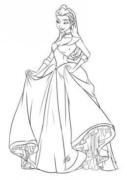 Раскраска Принцесса в пышном платье, скачать и распечатать ...