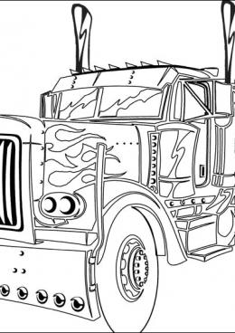 Раскраска Оптимус Прайм грузовик, скачать и распечатать ...