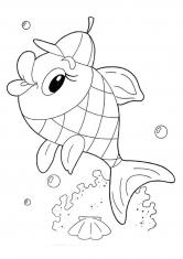 Раскраска Рыбка в кепке