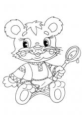 Раскраска Мишка с ложкой
