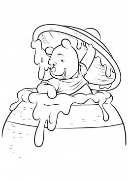 Раскраска Винни Пух в бочонке с медом, скачать и ...