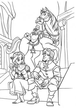 Раскраска Рапунцель и Флин едят мороженое, скачать и ...