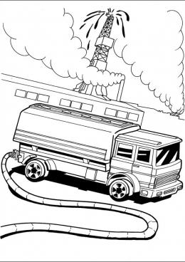 Раскраска Грузовой автомобиль с нефтью, скачать и ...