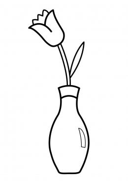 Раскраска Тюльпан в вазе, скачать и распечатать раскраску ...