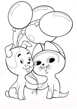 Раскраска Котенок и щенок друзья, скачать и распечатать ...