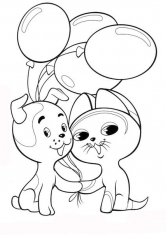 Раскраски котенок и щенок