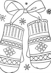 Раскраска Вязанные варежки