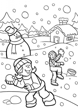 Дети играющие в снежки раскраски