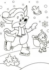 Раскраска Лисята на льду