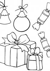 Раскраска Новогодние подарки и сладости