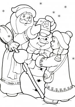 Раскраска Дед Мороз и Снегурочка лепят снеговика, скачать ...