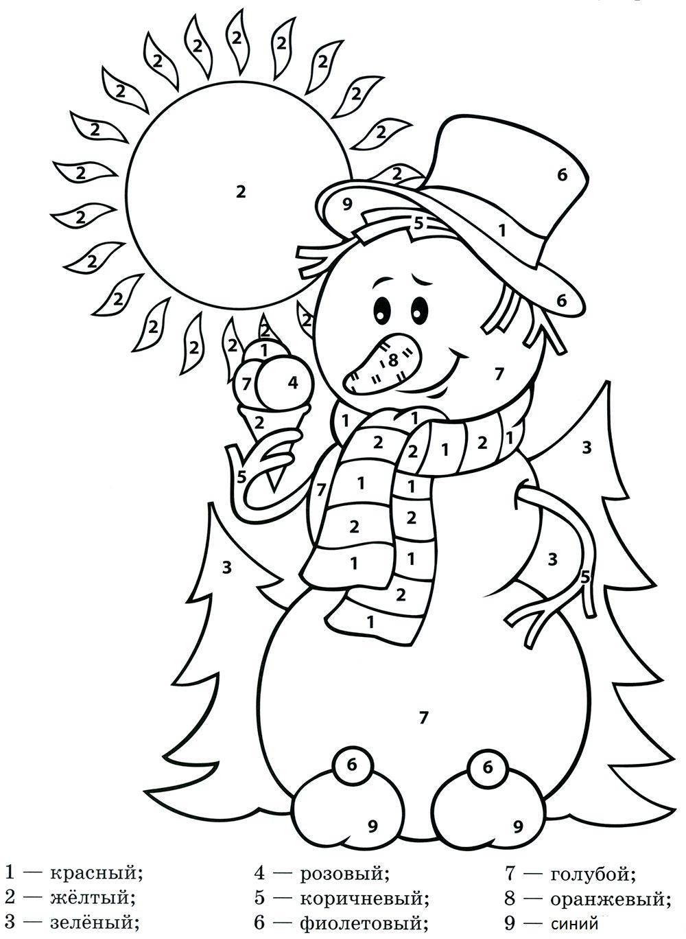 Снеговика по номерам - razukrashki.com