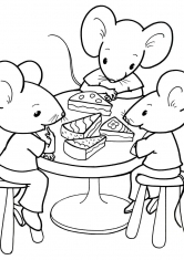 Раскраска Мышки кушают торт