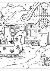 Раскраска Дом Дедушки Мороза