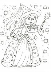 Раскраска Зимняя Фея с волшебной палочкой