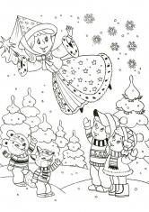 Раскраска Зимняя Фея прощается с детьми