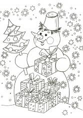 Раскраска дед мороз и снегурочка с елкой