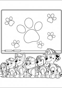 Раскраски щенячий патруль с образцами и