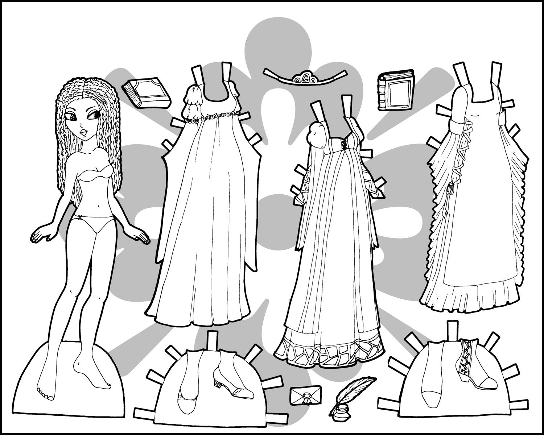 Раскраска бумажные куклы с одеждой для вырезания