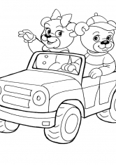 Раскраска Медведи на машине