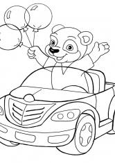 Раскраска Мишка в автомобиле