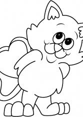 Раскраска Кот с валентинкой