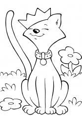 Раскраска Кошка в короне