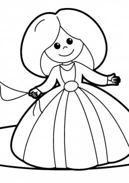 Раскраска Кукла Принцесса, скачать и распечатать раскраску ...