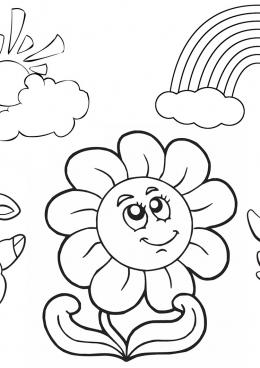 Раскраска животное с цветами