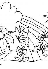 Раскраска Радуга и бабочки