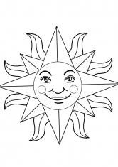 Раскраска Солнце яркое