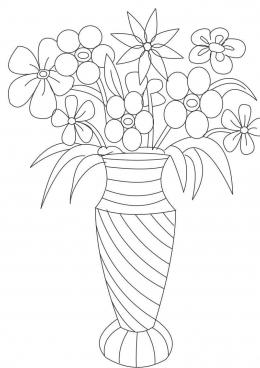 Раскраска Много цветов в вазе, скачать и распечатать ...
