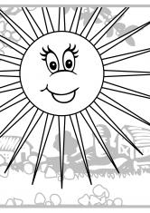 Раскраска Солнце в деревне