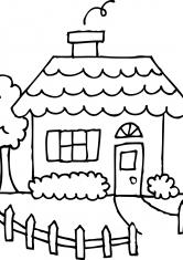 Раскраска Дом с тропинкой и забором