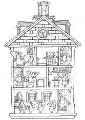 Раскраска Мышиный дом