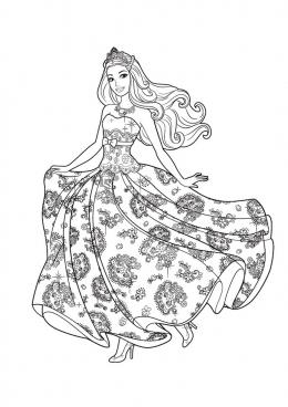 Раскраска Барби в красивом платье, скачать и распечатать ...