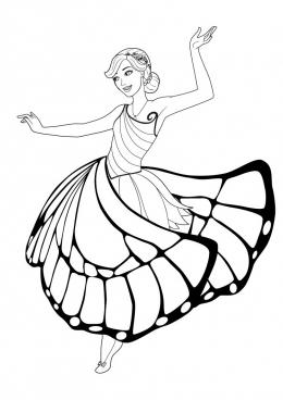 Раскраска Барби в платье бабочки, скачать и распечатать ...