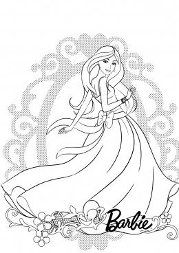 Раскраска Нежная Барби в платье с бантом, скачать и ...