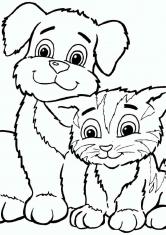 Раскраска Пес и Кот