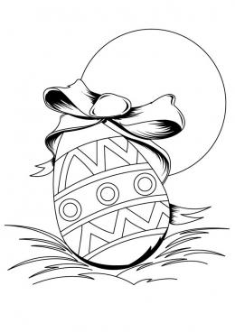 Раскраска Пасхальное яйцо с бантом, скачать и распечатать ...